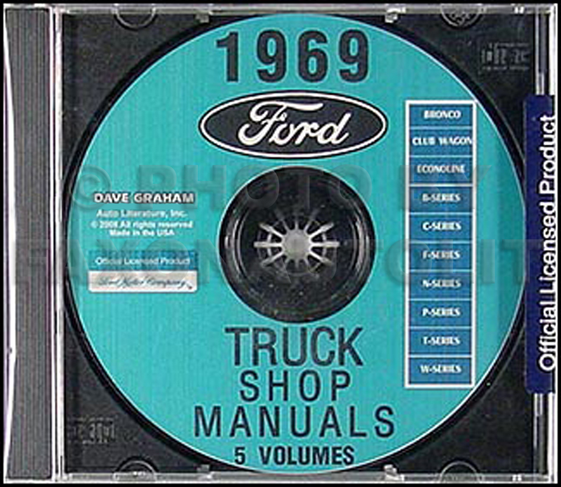 1969 Ford Truck Repair Shop Manual CD for Pickup Bronco Van and Big trucks