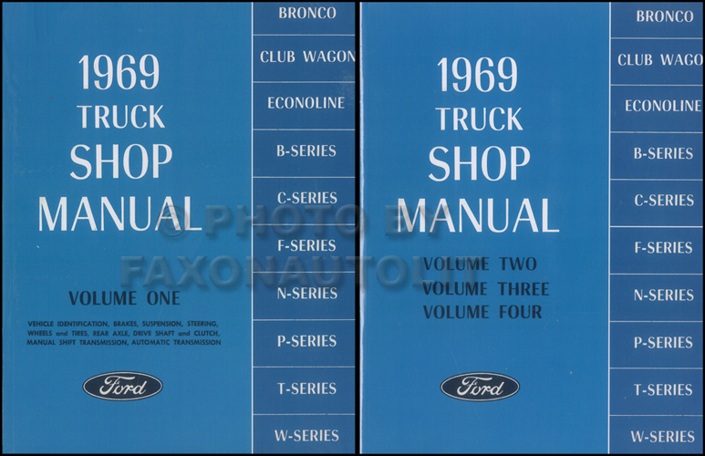 1969 Ford Truck Repair Shop Manual Set Reprint Pickup Bronco Van and big trucks