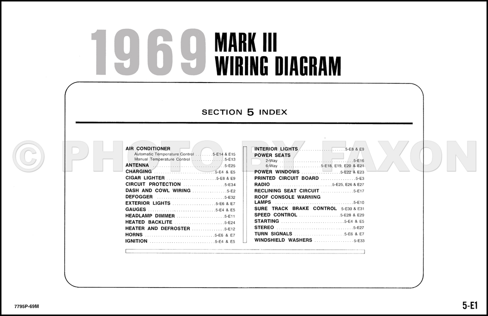 1969 Lincoln Mark Iii Factory Wiring Diagram Originalrhfaxonautoliterature: Lincoln Mark Iii Wiring Diagram At Cicentre.net