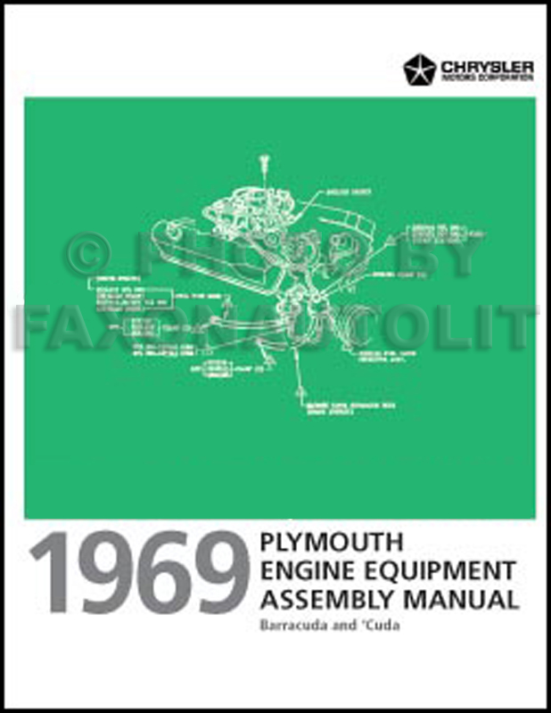 1969 Plymouth Barracuda Engine Equipment Assembly Manual Reprint