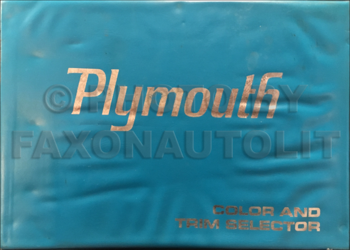 1969 Plymouth Color & Upholstery Dealer Album Original Large Size