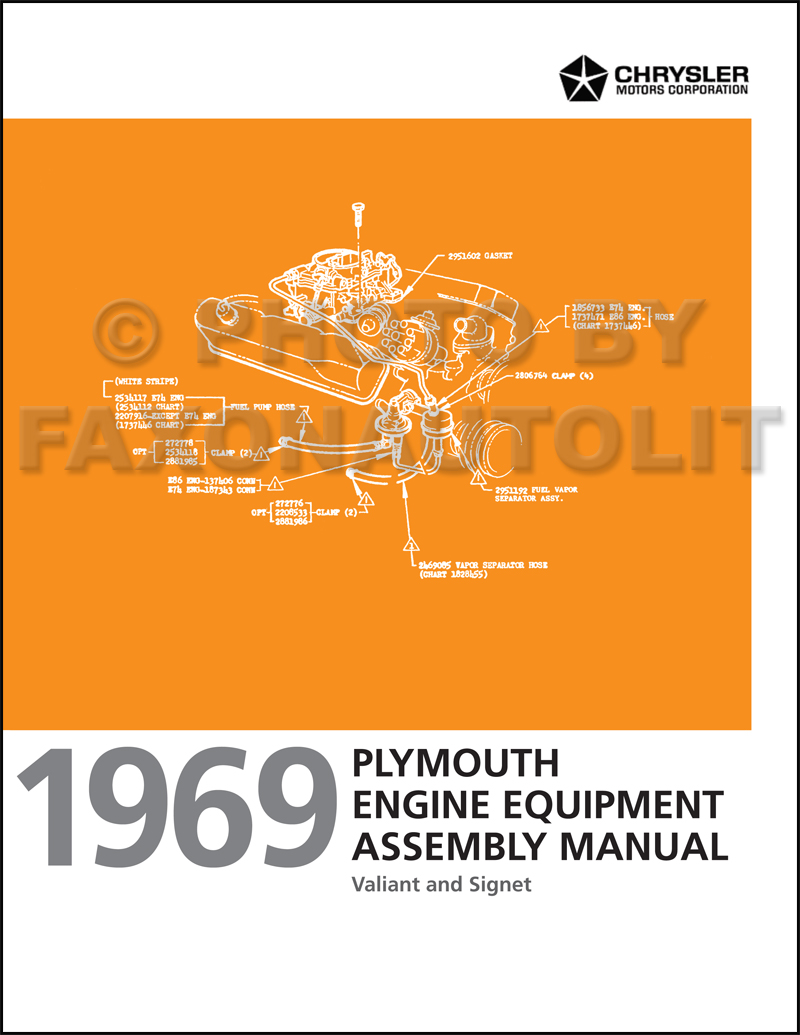 1969 Plymouth Valiant Engine Equipment Assembly Manual Reprint