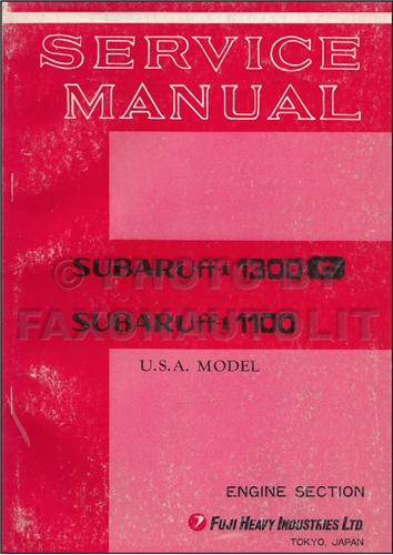 1970-1971 Subaru 1100 1300G Engine Repair Shop Manual Original Supplement for USA