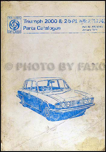 1970-1974 Triumph 2000 Parts Book Original