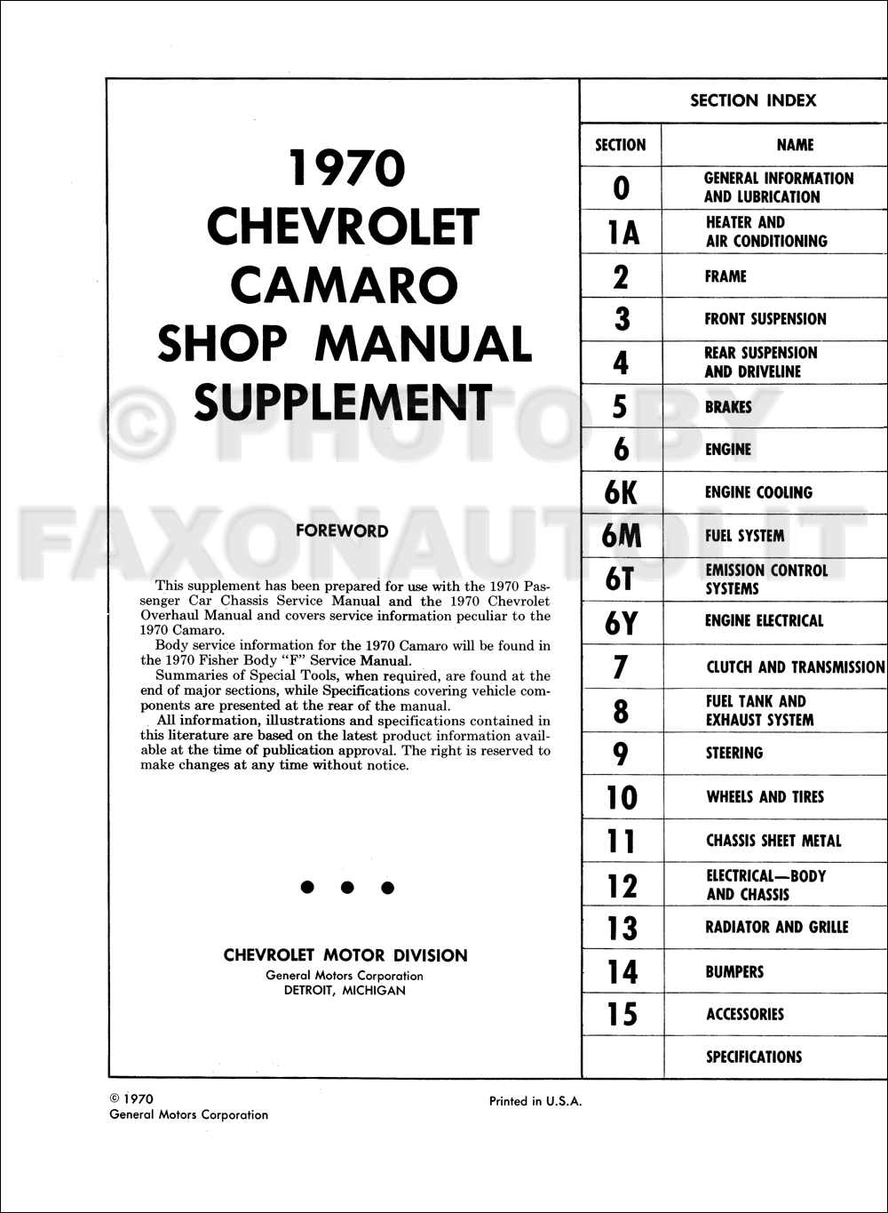 1970 camaro shop  u0026 overhaul manual original supplement