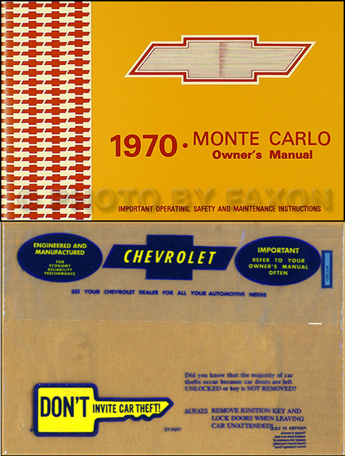1970 Monte Carlo Wiring Diagram Manual Reprint