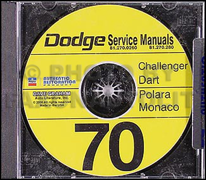 1970 Dodge CD Shop Manual for Challenger/Dart/Polara/Monaco 70