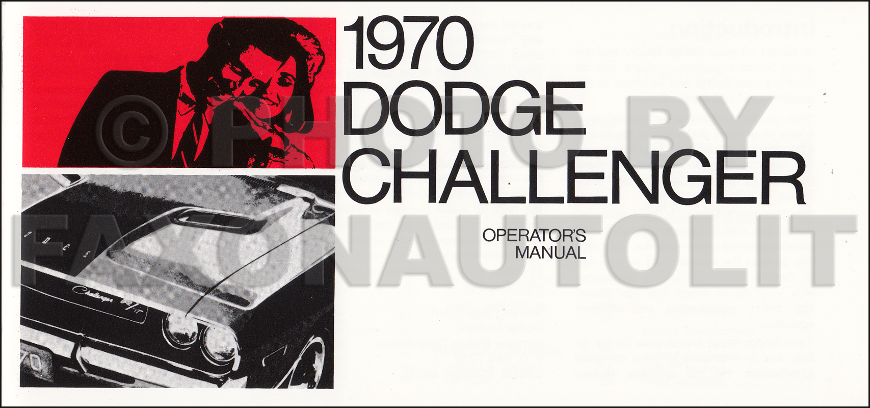 1970 Dodge Challenger Owner's Manual Reprint