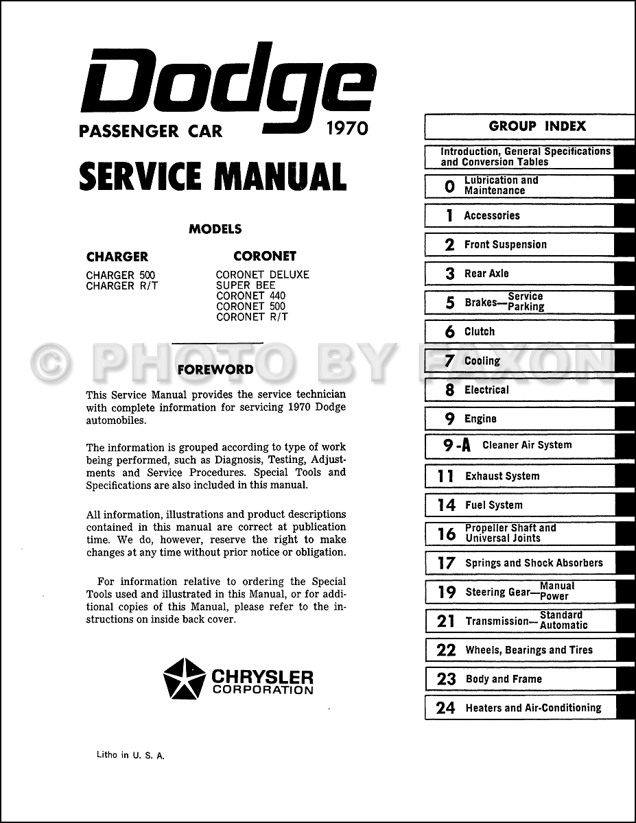 1970 Dodge Charger and Coronet Service Manual Reprint. Table of Contents