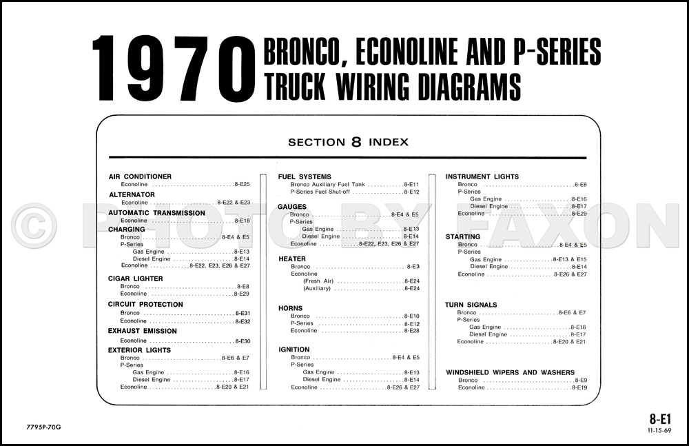 1970 ford coil diagram 1970 ford wiring 1970 ford bronco, econoline and p-series foldout wiring ...