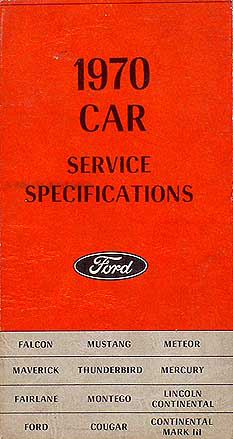 1970 Ford Car Mercury Service Specifications Manual Original