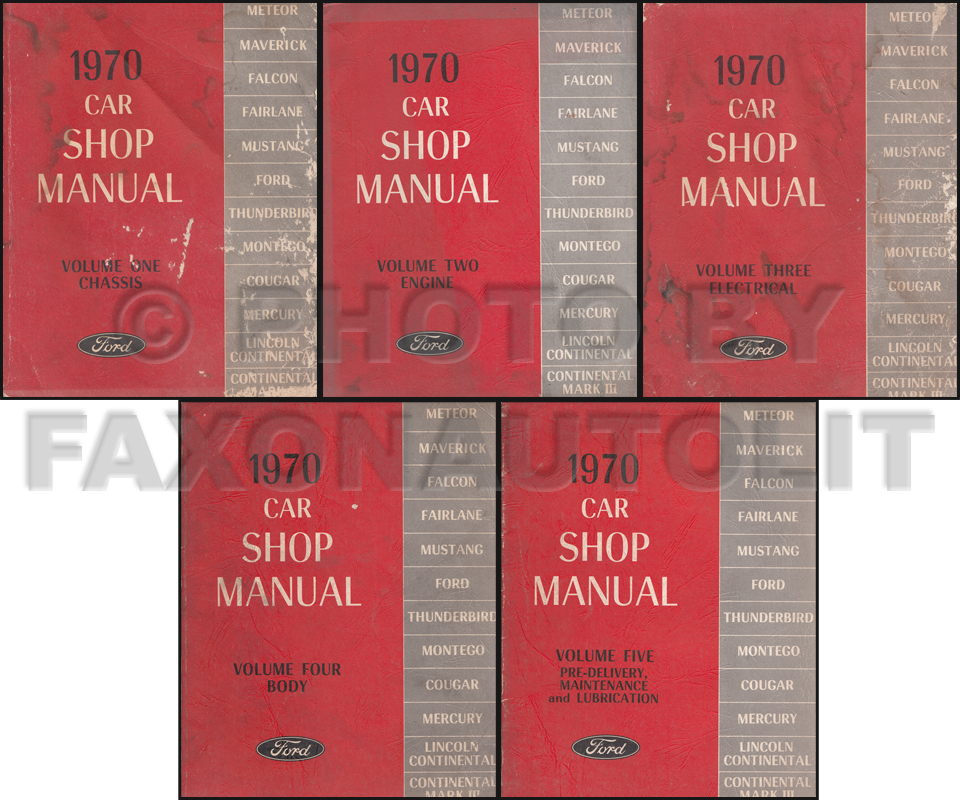 1970 Ford Lincoln Mercury All Car Repair Shop Manual Original 5 Volume Set