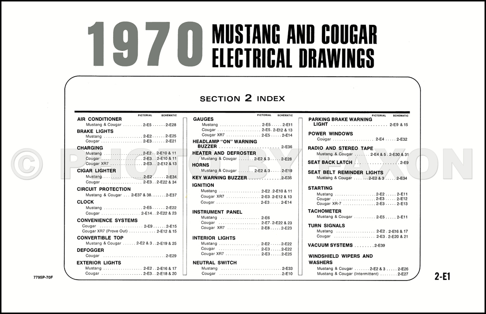 1970 ford mustang mercury cougar factory wiring diagram original rh faxonautoliterature com Ford Mustang Interior Ford Mustang Wheels