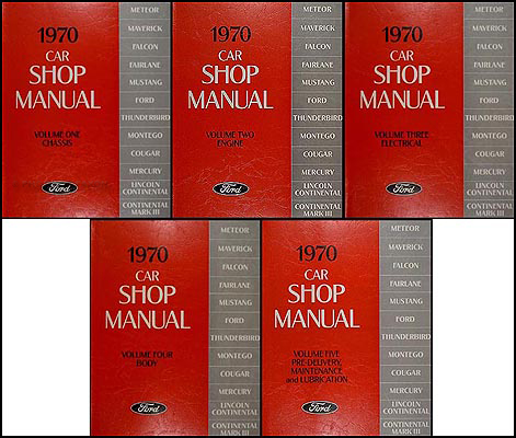 1970 Ford Lincoln Mercury Car Repair Shop Manual Reprint 5-Volume Set