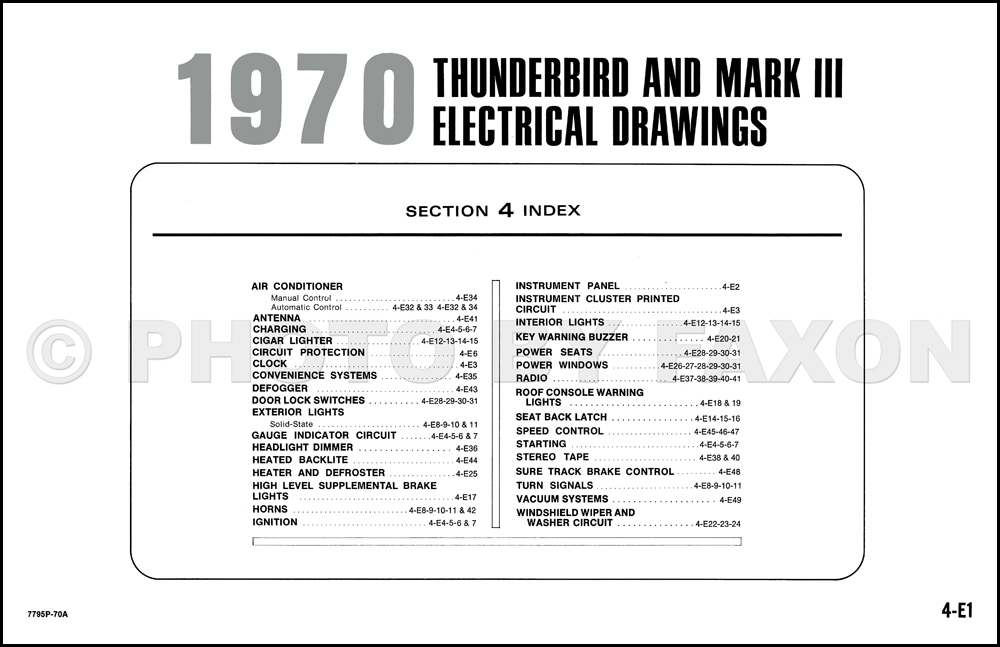 1970 Ford Thunderbird And Lincoln Mark Iii Wiring Diagram Originalrhfaxonautoliterature: Lincoln Mark Iii Wiring Diagram At Cicentre.net