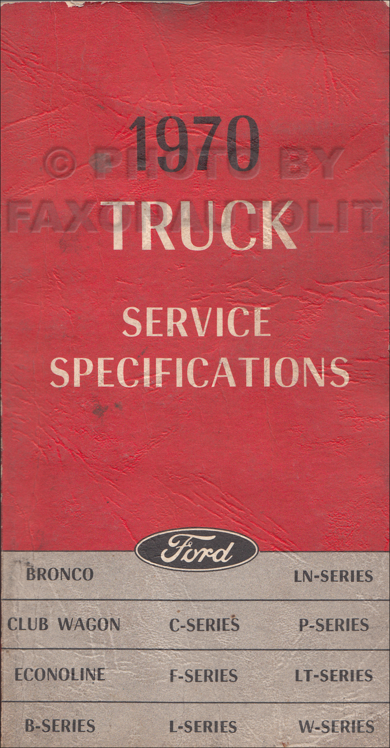 1970 Ford Truck Service Specs Manual Original