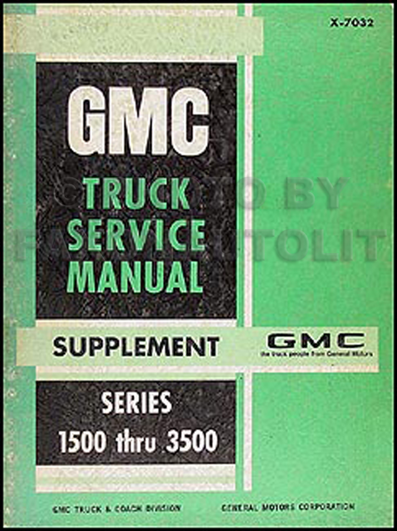 1970 GMC 1500-3500 Repair Shop Manual Supplement Pickup, Jimmy, Suburban, FC