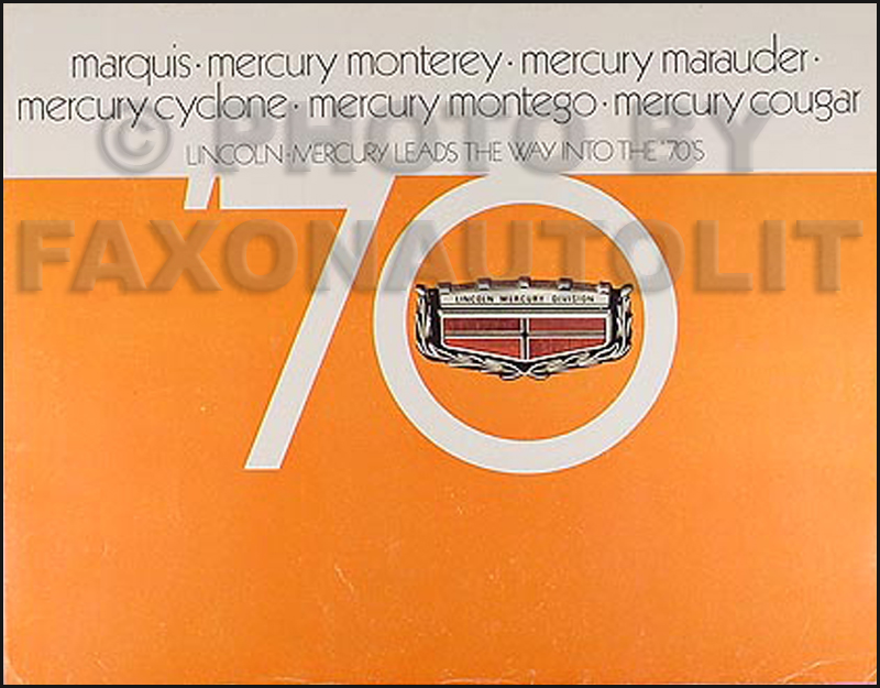 1970 Mercury Sales Catalog Original--All Models