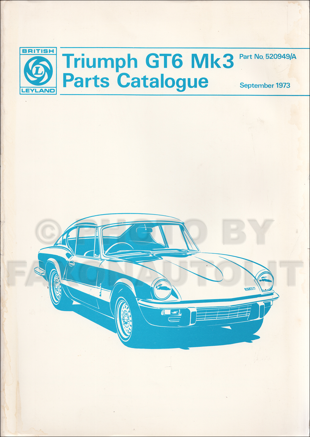 1971-1973 Triumph GT6 MK III Parts Book Original