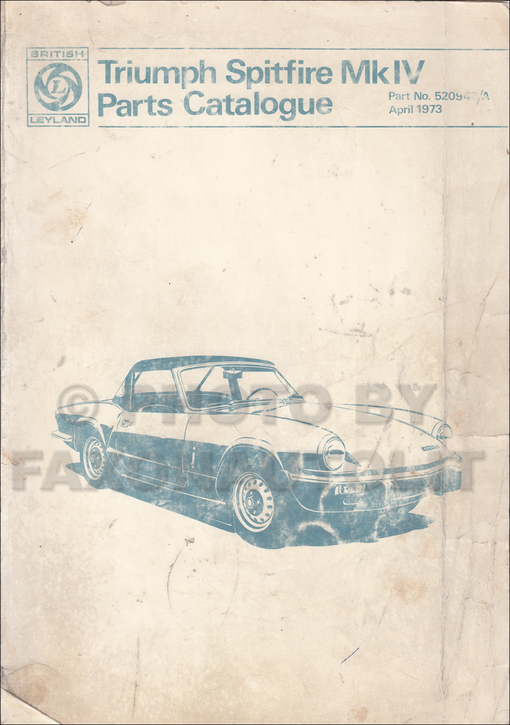 1971-1973 Triumph Spitfire Mark IV Parts Book Original