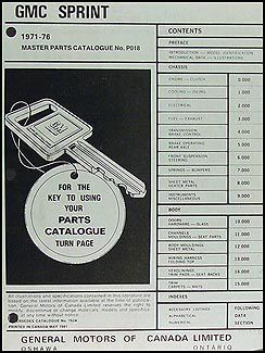 1971-1976 GMC Sprint Canadian Parts Catalog Original