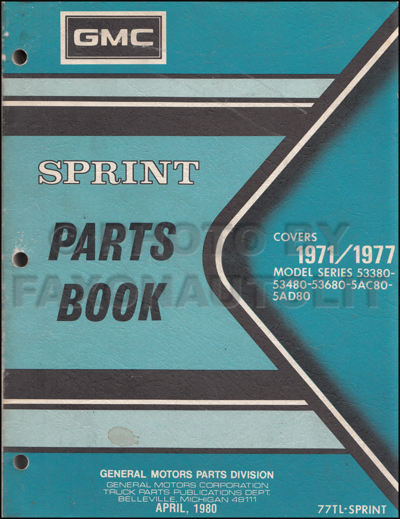 1971-1977 GMC Sprint Parts Book Original