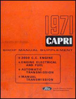 1971 Mercury Capri Repair Manual Original Supplement