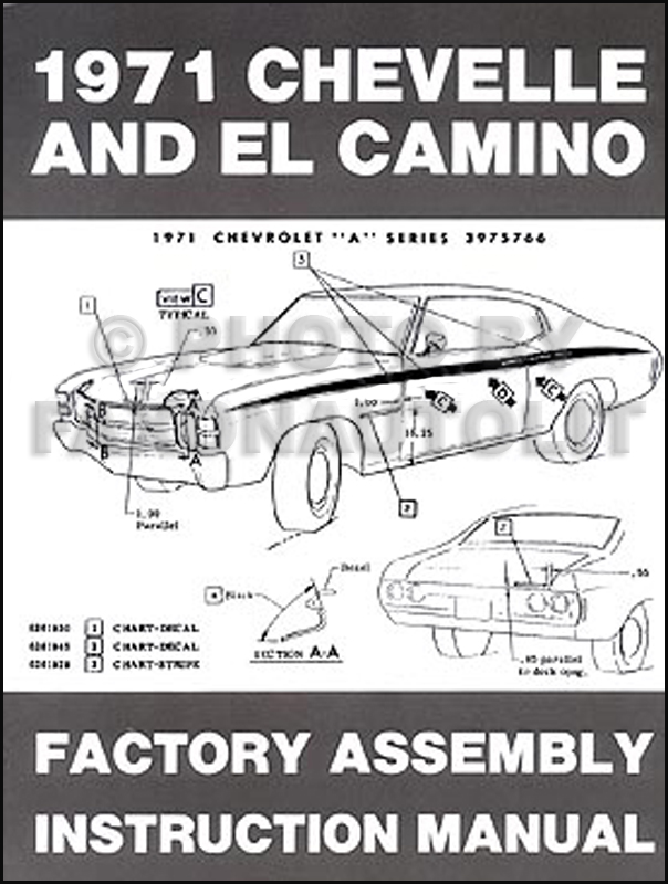 1971 Chevelle El Camino Monte Carlo GMC Sprint Assembly Manual Reprint