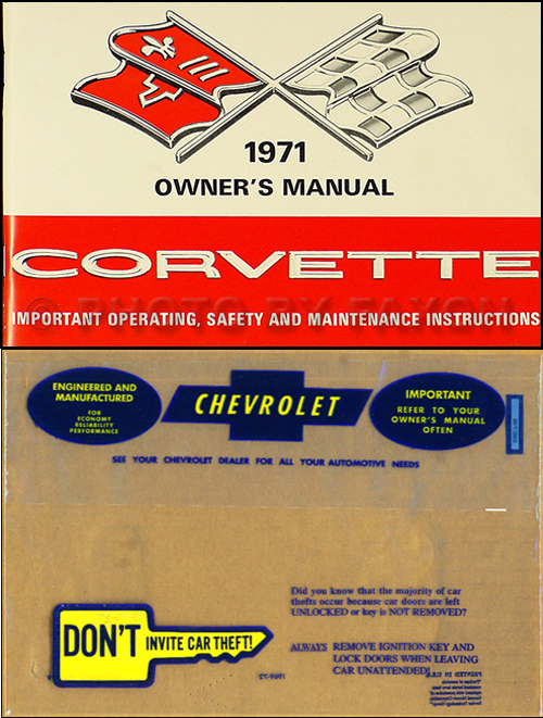 1971 Corvette Stingray Owner's Manual Package Reprint 71