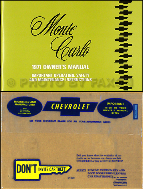 1971 Monte Carlo Wiring Diagram Manual Reprint