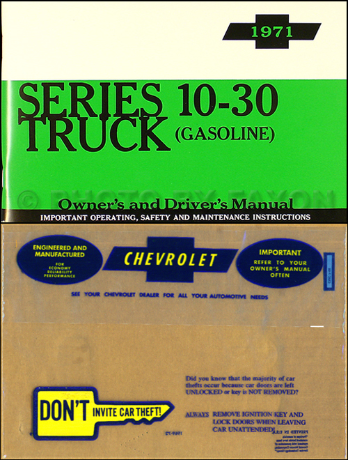 1971 Chevrolet ½-, ¾-, & 1-ton Truck Owner's Manual Package Reprint Pickup/Suburban/Blazer/P-Chassis