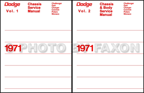 1971 Dodge Car Repair Manual Reprint Set