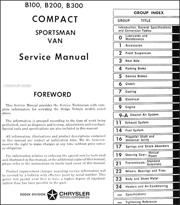 dodge b100 b200 b300 & sportsman van repair shop manual original ·  table of contents