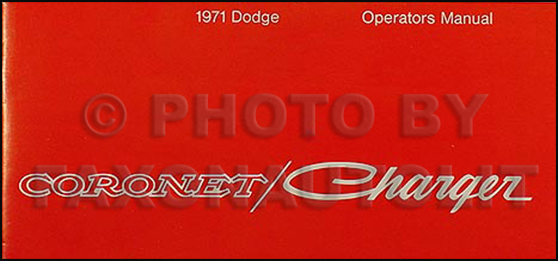 1971 Coronet Charger Super Bee Reprint Owner S Manual
