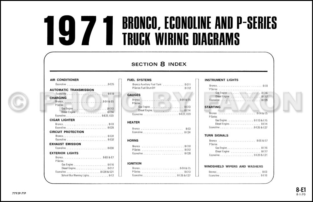 1971 Ford Bronco Econoline And P Series Wiring Diagram Original