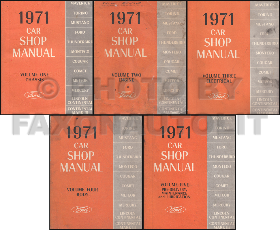 1971 Ford Lincoln Mercury All Car Repair Shop Manual Original 5 Volume Set