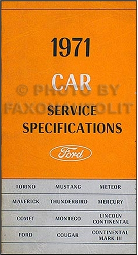 1971 Ford Car Lincoln Mercury Service Specifications Manual Original