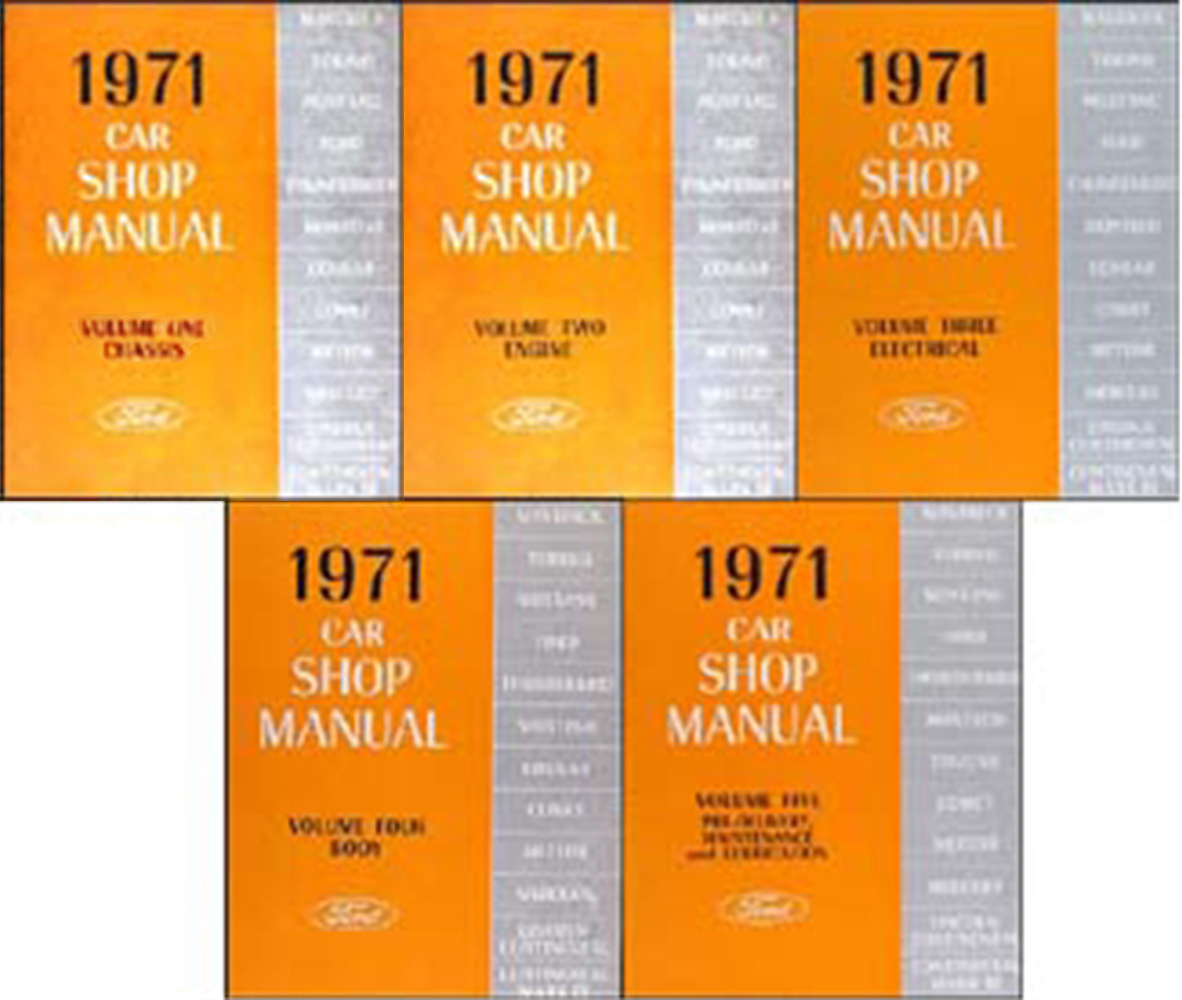 1971 Ford Lincoln Mercury Car Repair Shop Manual Reprint 5-Volume Set