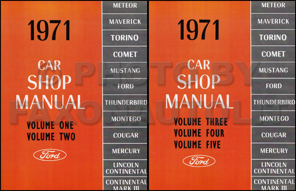1971 Ford Lincoln Mercury Car Repair Shop Manual 5 Volumes in 2 Books Reprint Set