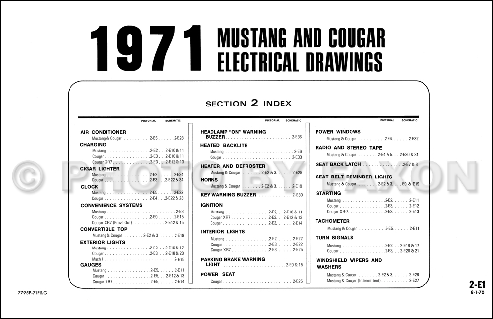 1971 Ford Mustang Mercury Cougar Factory Wiring Diagram Original | 71 Mercury Cougar Wiring Diagram |  | Faxon Auto Literature