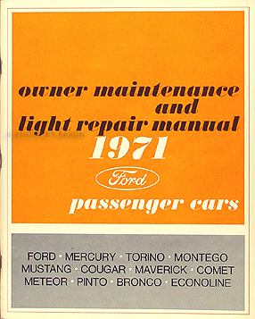 1971 Ford Mercury Original Owner Maintenance and Light Repair Shop Manual
