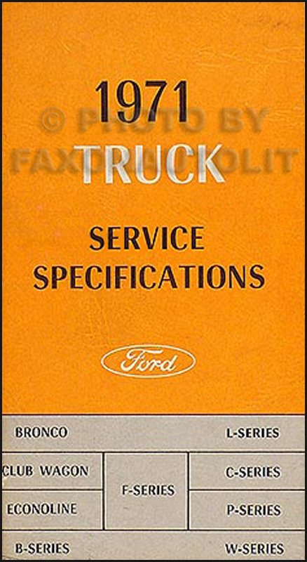 1971 Ford Truck Service Specs Manual Original