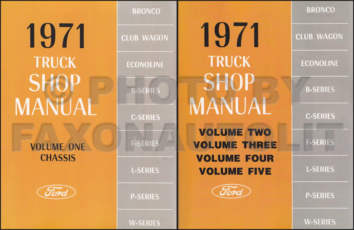 1971 Ford Truck Repair Shop Manual Set Reprint Pickup Van Bronco Big Truck