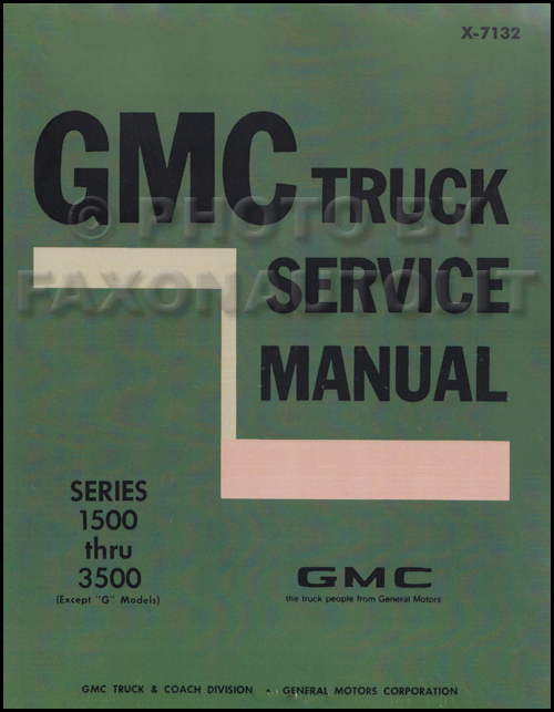 1971 GMC 1500-3500 Repair Shop Manual Reprint Pickup, Jimmy, Suburban, FC