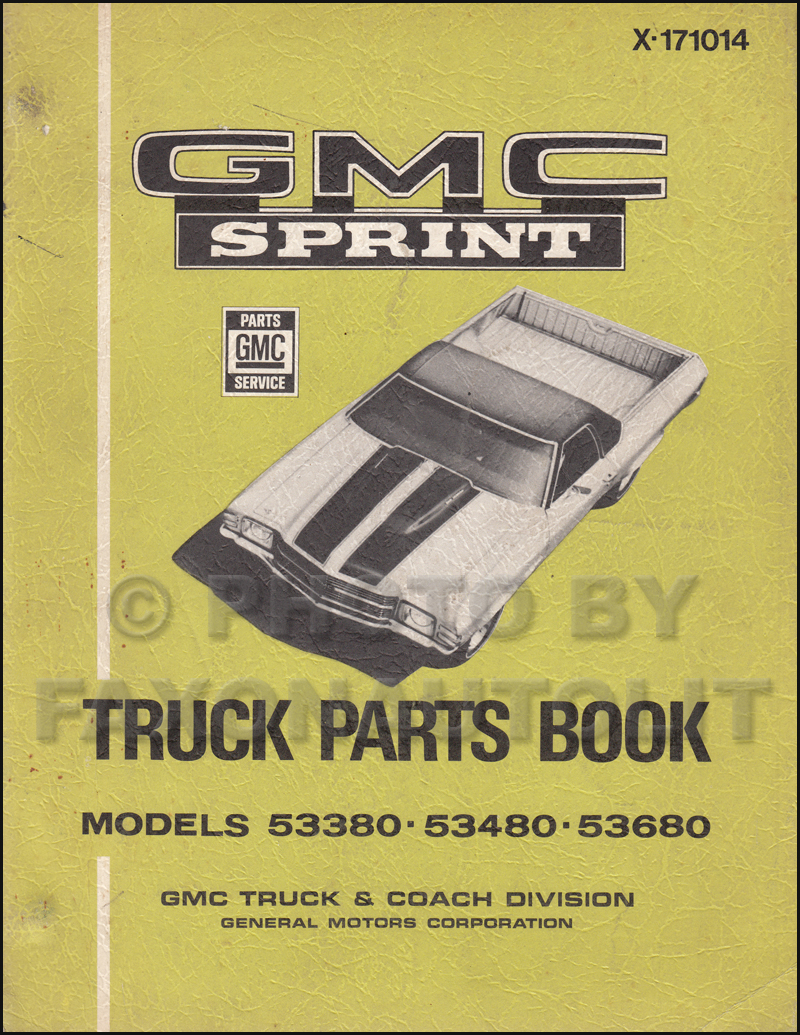1971 GMC Sprint Parts Book Original