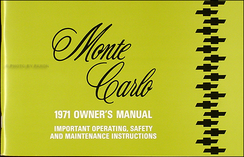 1971 Monte Carlo & SS 454 Owner's Manual Reprint