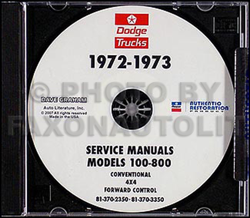 1972-1973 Dodge 100-800 Truck CD-ROM Shop Manual
