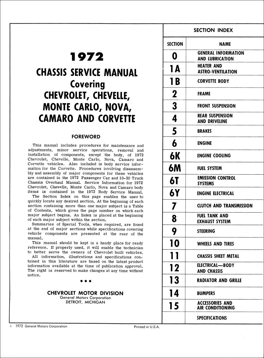 1972 chevy repair shop manual original impala caprice