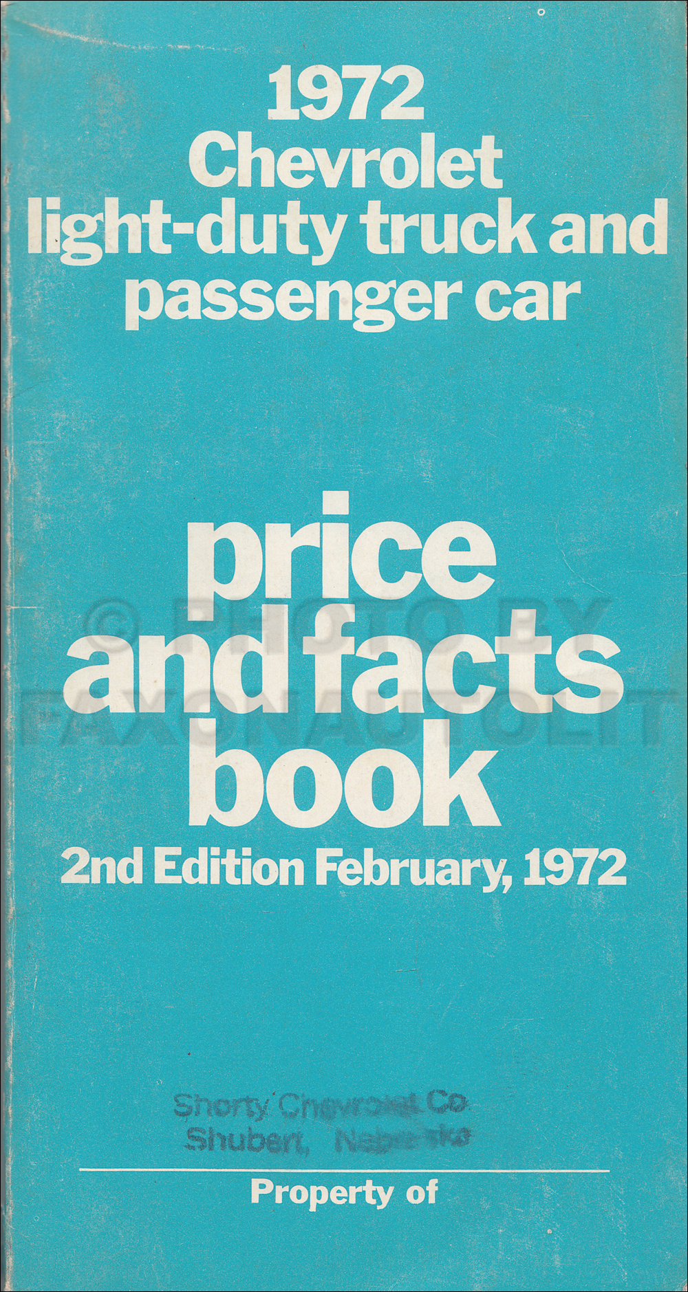 1972 Chevrolet Pocket Facts Book Original Chevy