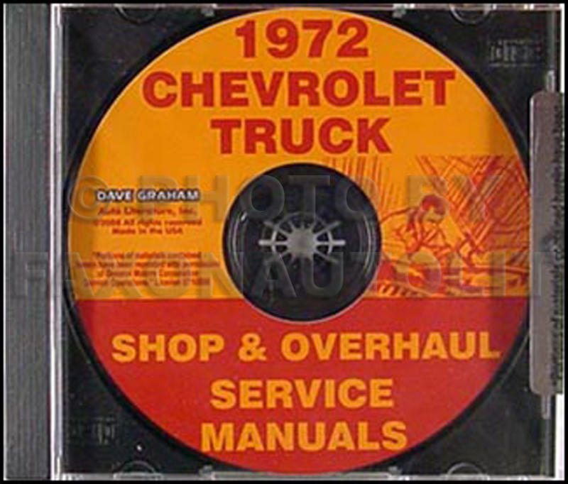 1972 Chevy Pickup & Truck CD-ROM Shop Manual & Overhaul Manual